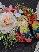 Ramos de Flores para Boda Ramillete de Muñeca Boda Tafetán Flor Seca Aprox.8cm