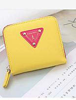 Women Money Clip PU All Seasons Casual Square Zipper Yellow Ruby Blushing Pink