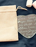 1pcs/bag - Hope Bliss Peace Love Forever Glass Coaster in Burlap Bag Wedding Party Decoration Beter Gifts® Life Style