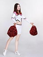 Fantasias para Cheerleader Roupa Mulheres Apresentação Roupa de Malha Adornos 2 Peças Manga Comprida Alto Saias Blusas
