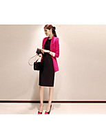 Women's Work Sophisticated Summer Suit,Solid Notch Lapel Long Sleeve Long Polyester