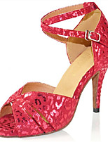 Women's Latin Flocking Sandals Performance Paillettes Stiletto Heel Ruby Silver 3