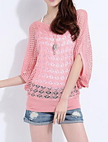 Women's Casual/Daily Short Pullover,Solid Boat Neck Half Sleeve Cotton Fall Thin Micro-elastic