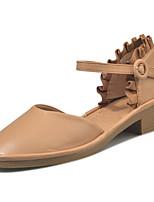 Women's Sandals Comfort Rubber Summer Outdoor Walking Comfort Buckle Block Heel Camel Beige Under 1in
