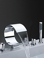 Contemporary  Waterfall High Quality with  Three Handles Five Holes Deck Mounted  Chrome Finish  Bathroom Bathtub Faucet