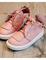 Girls' Flats Comfort Cowhide Spring Fall Casual Walking Comfort Magic Tape Low Heel Blushing Pink Black White Flat