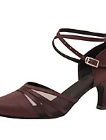Women's Latin Silk Sandals Performance Criss-Cross Cuban Heel Coffee 2