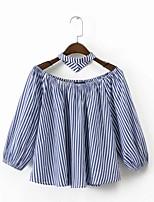 T-shirt Da donna Per uscire Casual Sensuale Semplice Moda città Estate,A strisce A barca Cotone Manica a 3/4 Sottile Medio spessore