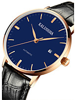 Men's Fashion Watch Mechanical Watch Automatic self-winding Calendar Noctilucent Leather Band Brown