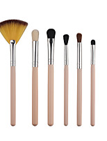 6 Pcs Bamboo Handle Eye Brushes Makeup Flat Brushes Cosmetics Professional Makeup Brush Set Hairbrush Eco-envrionmently