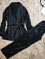Robe de chambre Satin & Soie Costumes Vêtement de nuit Femme,Rétro Solide