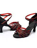 Women's Latin Silk Sandals Indoor Customized Heel Black/Red Customizable