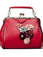 Women Tote PU All Seasons Casual Outdoor Rectangle Magnetic Blushing Pink Red Black