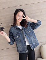 Women's Casual/Daily Simple Fall Denim Jacket,Solid Shirt Collar Long Sleeve Short Cotton