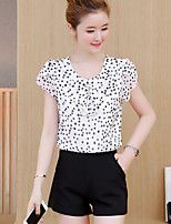 Women's Casual/Daily Casual Summer Blouse Pant Suits,Polka Dot Floral Round Neck Short Sleeve Inelastic