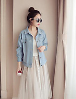 Women's Daily Modern/Comtemporary Summer Denim Jacket,Print Shirt Collar Long Sleeve Regular Others