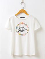Tee-shirt Femme,Lettre Sports Décontracté / Quotidien simple Actif Eté Automne Manches Courtes Col Arrondi Soie Coton Lin Fin Moyen