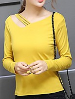 Women's Going out Casual/Daily Simple Street chic Summer Fall T-shirt,Solid V Neck Long Sleeve Polyester Medium