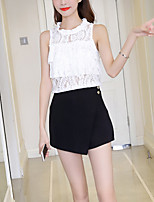 Women's Going out Casual/Daily Sexy Cute Summer Fall T-shirt,Solid Stand Sleeveless Polyester Medium