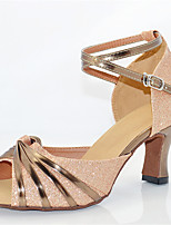 Women's Latin Glitter Sandals Performance Sparkling Glitter Cuban Heel Nude 2