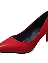 Mujer Tacones Confort Suelas con luz PU Verano Vestido Confort Suelas con luz Tacón Kitten Blanco Negro Rojo 2'5 - 4'5 cms
