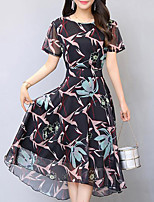 Women's Plus Size Going out Simple Swing Dress,Floral Round Neck Midi Short Sleeve Chiffon Summer Mid Rise Inelastic Medium