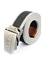 Men's Alloy Outdoor Waist Belt Casual/Business Color Block Striped Cotton Canvas Belt Black/Army Green/Grey