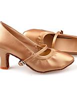 Women's Latin PU Flats Heels Practice Camel Black
