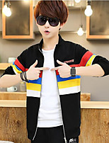 Men's Casual/Daily Sweatshirt Striped Color Block Stand Micro-elastic Cotton Long Sleeve Fall