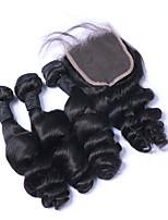 Натуральные волосы Бразильские волосы Человека ткет Волосы Свободные волны Наращивание волос 4 предмета Черный