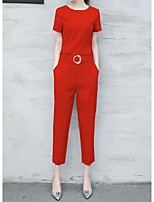 Women's Casual/Daily Casual Summer T-shirt Pant Suits,Solid Round Neck Short Sleeve Micro-elastic