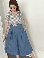 Women's Daily Casual Simple Summer T-shirt Skirt Suits,Solid Round Neck ½ Length Sleeve Micro-elastic
