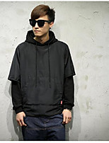 Men's Casual/Daily Casual/Daily Hoodie Solid Hooded Micro-elastic Other Long Sleeve Spring
