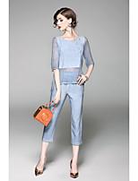 Manches Ajustées Pantalon Costumes Femme,Couleur Pleine Vacances Sortie Travail simple Rétro Eté ½ Manches Col Arrondi non élastique