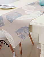 Modern Minimalist Linen Print Leaf Table Flag