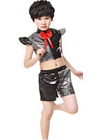 Jazz Outfits Boys' Performance Polyester Bowknot Paillettes 2 Pieces Short Sleeve High Tops Shorts