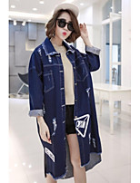 Women's Casual/Daily Simple Spring Fall Denim Jacket,Solid Print Shirt Collar Long Sleeve Long Others