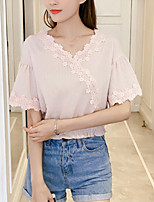 Women's Going out Casual/Daily Boho Summer Fall Blouse,Solid V Neck Short Sleeve Polyester Medium