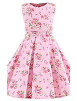 Girl's Pink Floral Vintage Inspired Sleeveless 50s Rockabilly Swing Dress Cotton All Seasons