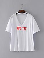 T-shirt Da donna Per uscire Casual Sensuale Semplice Moda città Estate,Frasi e citazioni Girocollo Cotone Manica cortaSottile Medio