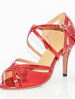 Для женщин Латина Искусственная кожа Сандалии Концертная обувь Крест-накрест На шпильке Красный 7,5 - 9,5 см Персонализируемая