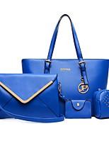 Mujer Conjuntos de Bolsa PU Todas las Temporadas De Compras Cremallera Azul Piscina Blanco Negro Morado