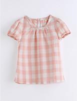 Girls' Print Lattice Tee,Cotton Summer Short Sleeve