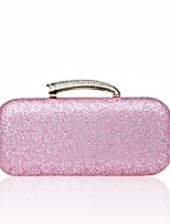 Women Evening Bag Polyester All Seasons Wedding Event/Party Formal Baguette Rhinestone Clasp Lock Blushing Pink Silver Black Gold Blue