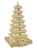 Rompecabezas Puzzles 3D Bloques de construcción Juguetes de bricolaje Cuadrado Madera Natural