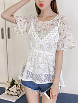 Women's Going out Casual/Daily Boho Summer Fall Blouse,Floral Round Neck Short Sleeve Polyester Medium
