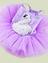 Dog Dress Dog Clothes Casual/Daily Princess White Purple Blushing Pink