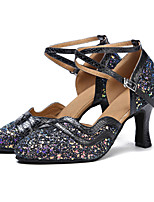 Women's Modern Sequined Dance Shoes Paillette Professional Latin/Ballroom/Salsa Dance Shoes Customized Heel Blue Black1 - 1 3/4 2 - 2 3/4