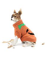 Hund Pullover Hundekleidung Halloween Kürbis Gelb