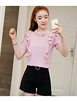 Women's Daily Casual Casual Summer Blouse Pant Suits,Solid V Neck Short Sleeve Inelastic